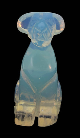 Airedale Dog Opalite Hand Carved Gemstone Animal Tiny Totem Statue Stone
