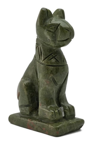 Bastet Green Unakite Hand Carved Gemstone Animal Totem Statue Stone
