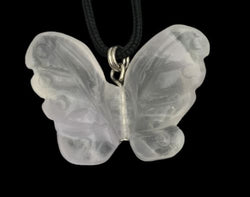 Butterfly Fluorite Gemstone Pendant Hand Carved Stone Necklace