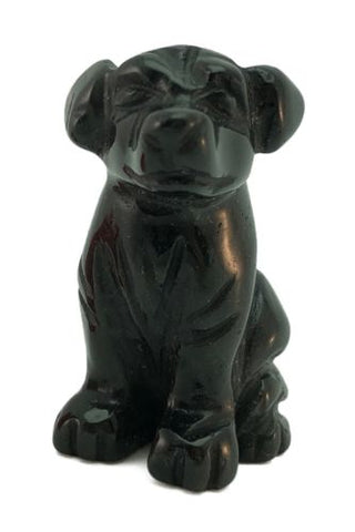 Dog Black Obsidian Hand Carved Gemstone Animal Tiny Totem Statue Stone
