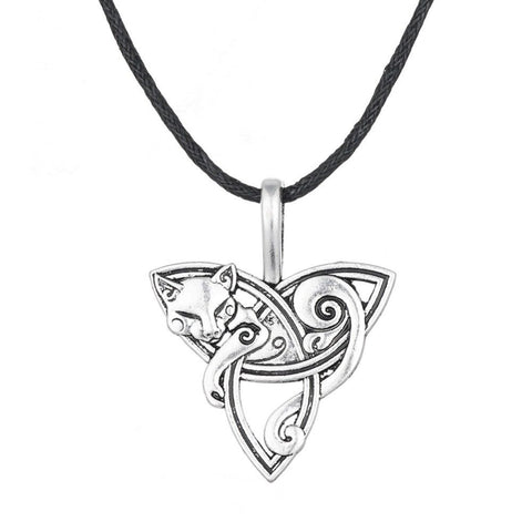 Viking Fox Triquetra Fenrir Pendant Necklace Amulet Jewelry