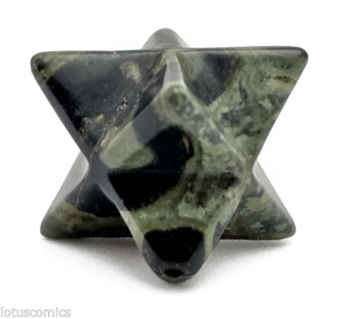 Merkaba Kabbalah Bead Kambaba Jasper Hand Carved Gemstone 17mm Jewelry Craft
