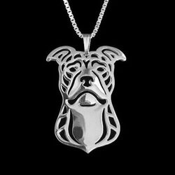 Pit Bull Terrier Dog Silver Charm Pendant Necklace Pet Lover Animal Jewelry Gift