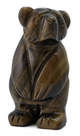 Tigers Eye Brown Bear Hand Carved Gemstone Animal Standing Totem Statue Gift
