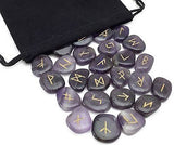 Amethyst Elder Futhark Rune Set Hand Carved Gemstone Runic