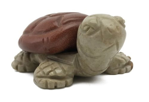 Turtle Red Goldstone Tan Jasper Hand Carved Gemstone Animal Totem Statue Stone