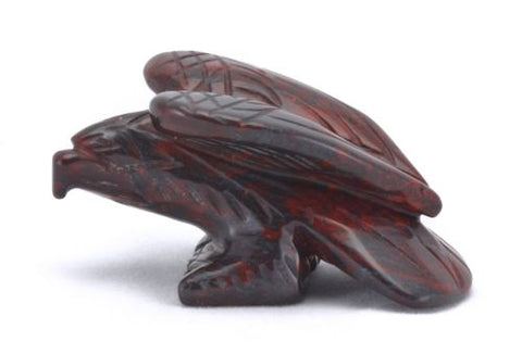 Perched Eagle Hematite Red Jasper Hand Carved Gemstone Animal Totem Statue Stone