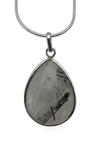 Tourmalinated Quartz Polished Drop Pendant SS 925 Sterling Silver w Free Chain