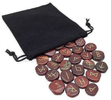 Red Jasper Elder Futhark Rune Set Hand Carved Gemstone Runic