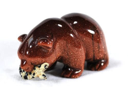 Red Goldstone Bear with Dalmatian Jasper Fish Gemstone Animal Totem
