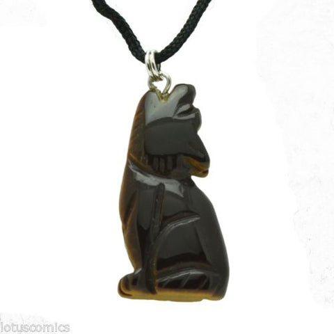 Howling Wolf Tigers Eye Gemstone Animal Pendant Hand Carved Necklace