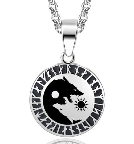 Wolf Sun and Moon Yin Yang Pendant Necklace Stainless Steel Jewelry Gift