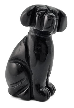 Dog Black Obsidian Hand Carved Gemstone Animal Totem Statue Stone Sculpture