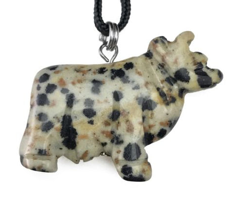 Dalmatian Jasper Cow Gemstone Animal Pendant Hand Carved Stone Necklace