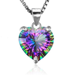 Authentic Rainbow Fire Topaz Heart Pendant 925 SS Sterling Silver Jewelry Gift