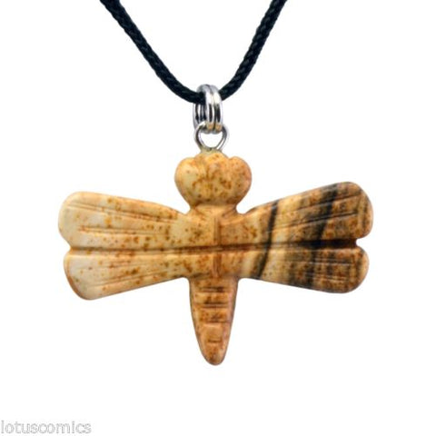 Dragonfly Picture Jasper Gemstone Pendant Hand Carved Necklace