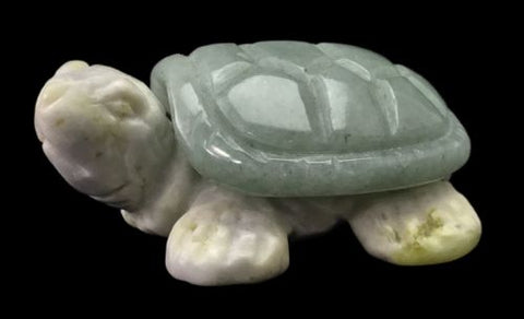 Turtle Aventurine and Serpentine Hand Carved Gemstone Animal Totem Statue Stone