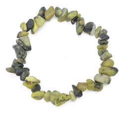 Gemstone Power Stretch Bracelet 22 Varieties Chip Stone Quartz Obsidian Jasper [Serpentine]