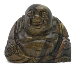 Sitting Buddha Budai Tigers Eye Hand Carved Gemstone Totem Statue Stone