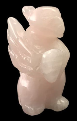 Griffin Pink Rose Quartz Hand Carved Gemstone Animal Totem Statue Stone Gryphon