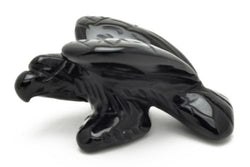 Perched Eagle Black Obsidian Hand Carved Gemstone Animal Totem Statue Stone