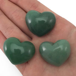 Lot of 3 Puffy Heart Aventurine Pocket Sized Hand Carved Gemstone Love Stone