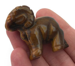 Ram Tigers Eye Hand Carved Gemstone Animal Tiny Totem Statue Stone
