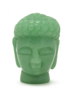 Buddha Head Green Aventurine Carved Gemstone Totem Statue Stone Sculpture