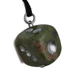 Dice Unakite Hand Carved Gemstone Pendant Necklace D6 Natural Stone Jewelry