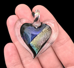 Dichroic Fused Glass Heart Pendant with Cord Mixed Colorful Rainbow Necklace B [HeartB7]
