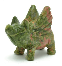Flying Pig Unakite Hand Carved Gemstone Animal Totem Statue Stone
