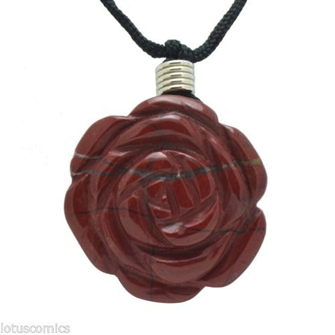 Ancient Mystical Rose Flower Symbol Through The Ages Red Jasper Gemstone Pendant