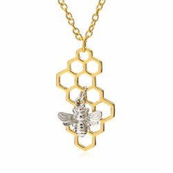Silver Bee on Gold Honeycomb Charm Pendant Necklace Jewelry Hexagon Hive
