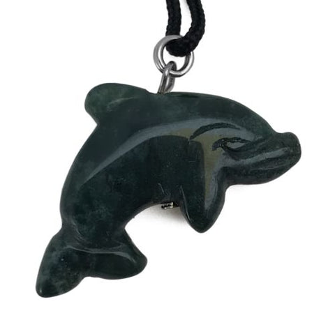 Dolphin Green Jasper Gemstone Animal Pendant Hand Carved Stone Totem Necklace