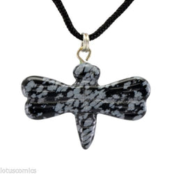 Dragonfly Snowflake Obsidian Gemstone Pendant Hand Carved Necklace