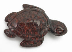 Sea Turtle Red Jasper Hematite Hand Carved Gemstone Animal Totem Statue Stone