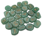 Green Aventurine Elder Futhark Rune Set Hand Carved Gemstone Runic