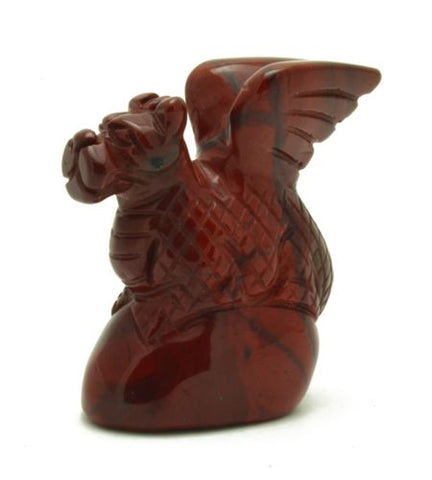 Dragon on Pedestal Red Jasper Hand Carved Gemstone Animal Totem Statue