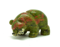Unakite Bear with Dalmatian Jasper Fish Hand Carved Gemstone Animal Totem