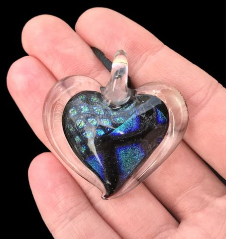 Dichroic Fused Glass Heart Pendant with Cord Mixed Colorful Rainbow Necklace A [HeartA1]