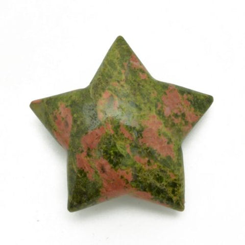 Magical Mystical 5 Pointed Star Green and Pink Unakite Hand Carved Gemstone