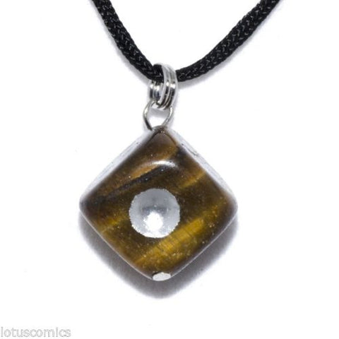 Dice Tigers Eye Hand Carved Gemstone Pendant Necklace D6