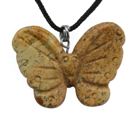 Butterfly Picture Jasper Gemstone Pendant Hand Carved Stone Necklace