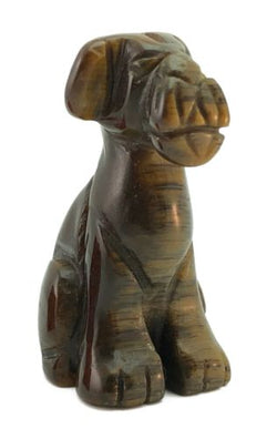 Airedale Dog Tigers Eye Hand Carved Gemstone Animal Tiny Totem Statue Stone