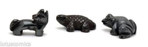 Miniature Wolf Lizard Frog Hand Carved Gemstone Collection Real Hematite 155