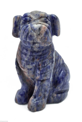 Pug Dog Sodalite Hand Carved Gemstone Animal Totem Statue Stone Sculpture