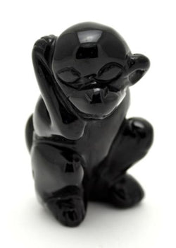 Monkey Black Obsidian Hand Carved Gemstone Animal Totem Statue Stone Sculpture