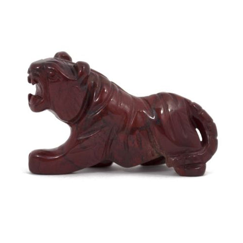 Tiger Red Jasper Hand Carved Gemstone Animal Totem Statue Stone Sculpture
