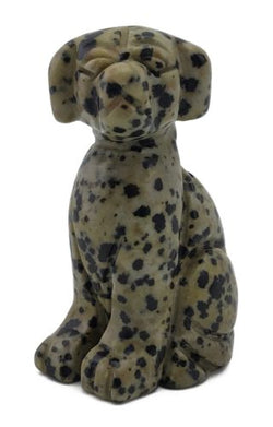 Dog Dalmatian Carved Gemstone Animal Totem Statue Stone Sculpture