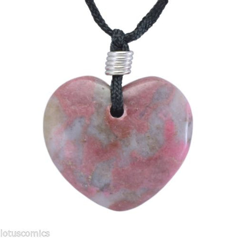 Rhodonite and Quartz Gemstone Heart Pendant Hand Carved Necklace